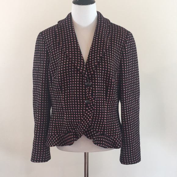 rena lange jackets & coats | black and red blazer size 12 | poshmark